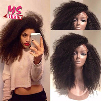 Afro Kinky Curly Synthetic Lace Front Wig Natural Black Heat Resistant Fiber Hair Wig For Black Women Curly Synthetic Wigs