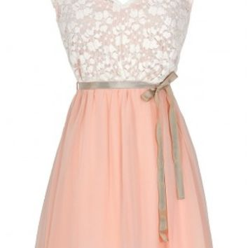 Sonoma Sunset Lace Dress in Cream/Pink - DRESSES