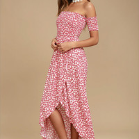 Lucy Love Tranquility Red Floral Print Off-the-Shoulder Dress