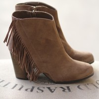Fringe It Out Heel Suede Booties (Taupe)