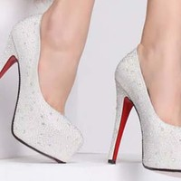 WOMEN SILVER CRYSTAL PLATFORM STILETTO PARTY PROM BRIDAL HIGH HEEL SHOES SIZE4-8