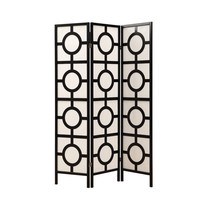 "Folding Screen - 3 Panel / Black Frame"" Circle Design """