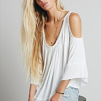 Free People Womens Chloe Cold Shoulder Tee