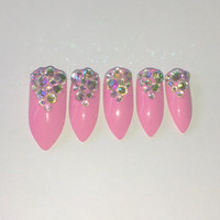 UV Gel Swarovski pointy stiletto nails - more colours available
