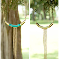 Moroccan Dream Turquoise and Cream Long Chain Drop Collar Necklaces