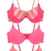 Three Bra Set with Rugby Stripe and Fishnet Print