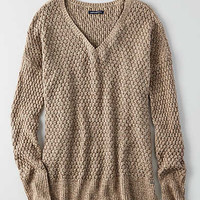 AEO Textured V-Neck Sweater , Oatmeal