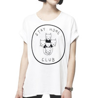 Stay Home Club loose tee - WHITE