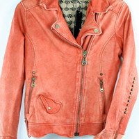 Doma Moto Jacket With Studs Detail in Red | Doma | Doma Jacket | Doma Leather Jacket | Doma Sale