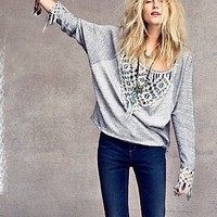 Free People Crochet and Fringe Pullover