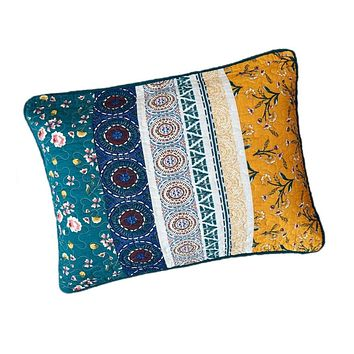 """DaDa Bedding Patchwork Bed of Wild Flowers Floral King Size Pillow Sham Cover, 20"""" x 36"""" (JHW886)"""