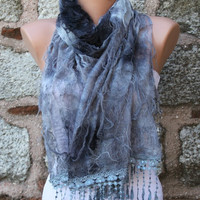 """ON SALE - Gray Scarf -  Cowl with Lace Edge """"Butterfly effect"""""""