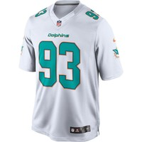 Men's Miami Dolphins Ndamukong Suh Nike White White Game 2015 NFL Patch Jersey