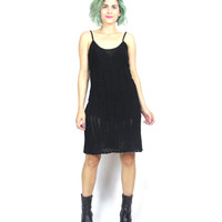 30% off SALE Shopwide 90s Black Crochet Dress Knit Mini Dress Strappy Sexy Summer Bodycon Knitted See Through Dress (S)