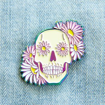 Holographic Rainbow Skull and Flowers Enamel Pin