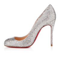FIFI STRASS SUEDE BURMA 100 mm, Strass, CRISTAL, souliers pour femme.