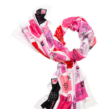 Kate Spade Love Letters Scarf Valentine Pink ONE