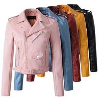 2017 New Hot Autumn Winter Women Faux Soft Leather Jackets Long Sleeve Motorcycle Coat Drop Shipping