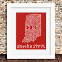 Indiana Home State Print - 8 x 10 - Hoosier State - More Colors