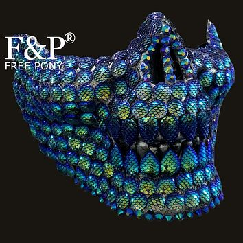 Holographic Mermaid Scale Skull Mask