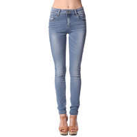 High rise skinny jeans with natural fading