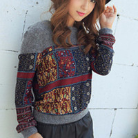 Multi Pattern Long Sleeve Knitted Sweatshirt