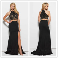 Two Pieces Prom Dresses  Keyhole Neck Sleeveless Zipper Back Beaded Sequins Empire Mermaid Sweep Train