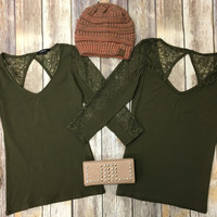 Raising Lace Top: Olive