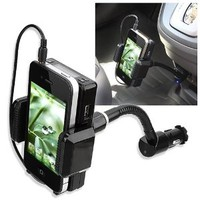 eForCity Black All-in-One FM Transmitter w/ 3.5-mm Audio Cable and Mic compatible with the New Apple? iPhone? 5