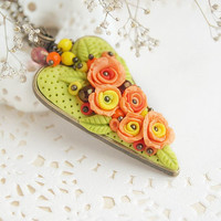 Autumn heart necklace, orange rose floral pendant, polymer clay flower necklace, sunny jewelry, Mothers Day gift