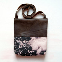 H A N D DYED and Leather Cross Body Shoulder Purse. Bleach black and Brown Leather Bag