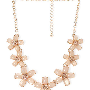 FOREVER 21 Blossom & Bloom Necklace Peach/Gold One