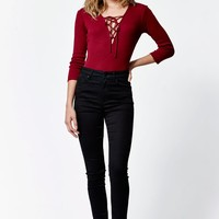 LA Hearts Tie Front Ribbed Bodysuit - Womens Tee - Red