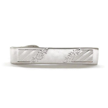 Diagonal Stripe And Floral Tie Clip In Silver Tone, Gift For Him