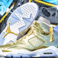 [ FREE SHIPPING ] AIR JORDAN 6 (PINNACLE GOLD / WHITE) BASKETBALL SNEAKER