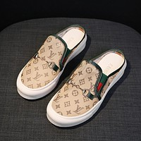 LV Louis Vuitton new style Baotou mesh half slippers without heel one pedal casual canvas lazy shoes