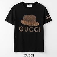 GUCCI New fashion diamond letter cap couple top t-shirt Black