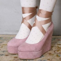 18 SIZES Suede Ballet Wedge Pump Ribbon Tie Princess Harajuku Kawaii Hime Gyaru