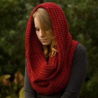 Oversized Hooded Cowl, Infinity Scarf, Red, Christmas in July Sale, CIJ