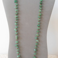 Chunky Green Aventurine Beaded Handmade Long Necklace brass beads hippie boho gypsy cowgirl glam style jewerly bohemian southwest statement