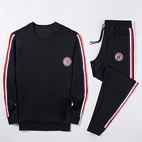 Moncler Fashion Casual Loose Hooded Top Sweater Pullover Pants Trousers Set Two-Piece