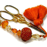 Scissor Fob, Cross Stitch, Needlepoint ,Sewing, Quilting, Gift, Orange, Beaded, DIY Crafts