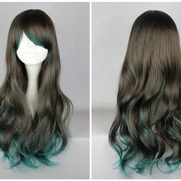 Synthetic 68cm Long Wavy Color Mixed Green Ombre Lolita Wig,Colorful Candy Colored synthetic Hair Extension Hair piece 1pcs WIG-356A