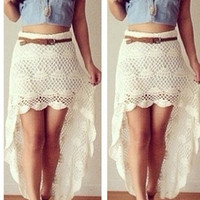 Pretty Hip Crochet Maxi Skirt - Cream