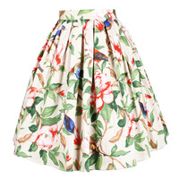 Vintage the Peony with Bird Summer Women High Waist Pleated A Line Skater Vintage Casual 50s Skirts Saia Femininas Cotton Skirt
