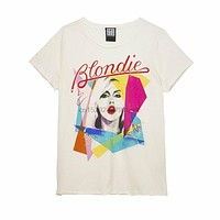 Amplified Blondie Ahoy Eighties Womens Fit Vintage White T Shirt|T-Shirts