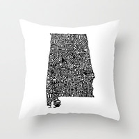 Typographic Alabama Throw Pillow by CAPow!