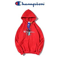 Champion New fashion embroidery letter couple hooded long sleeve sweater Red