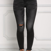Black Distressed & Frayed Low Rise Jeans