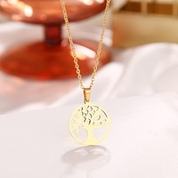 Steel Life Tree Charms Necklaces Pendant